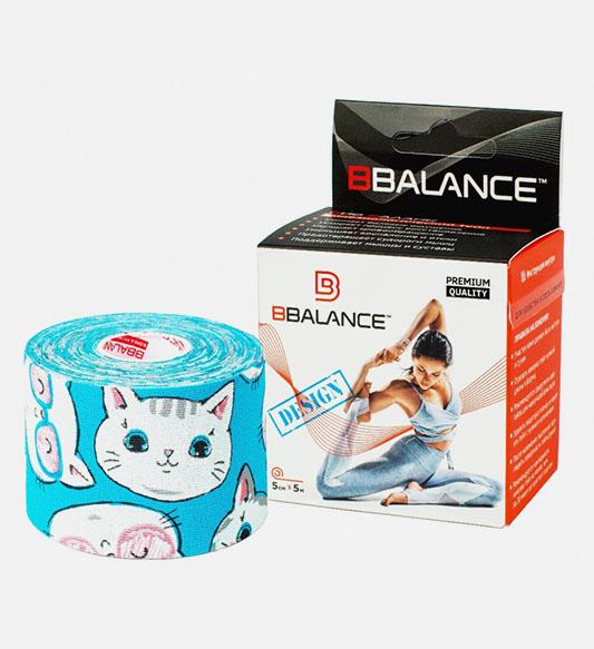 Кинезио тейп BBTape™ 5см × 5м котята голубой